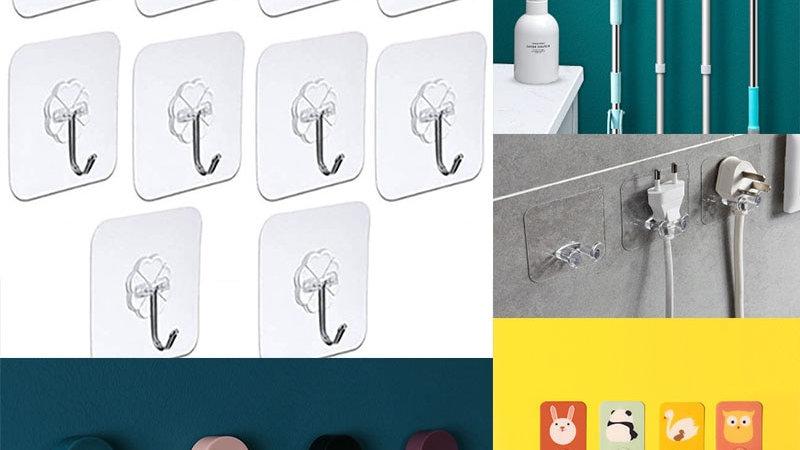 10Pcs Adhesive Wall Hooks