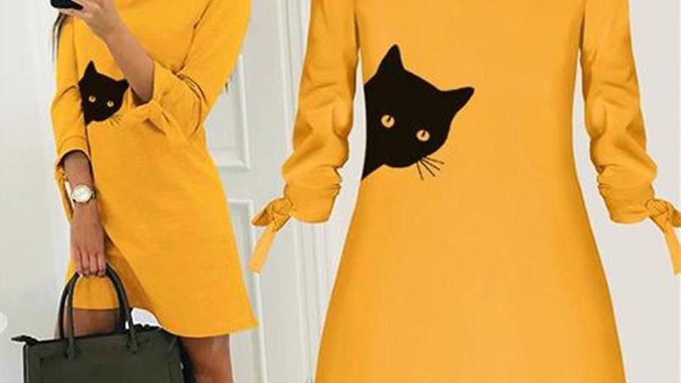 Printed Cat Long Sleeve Dress