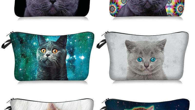 Cat Print Makeup Bags
