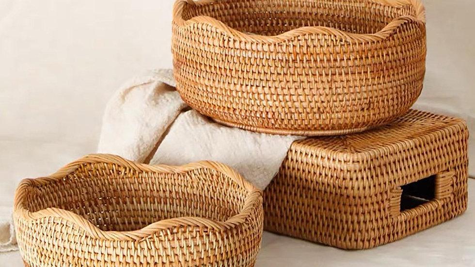 Round Hand-Woven Baskets