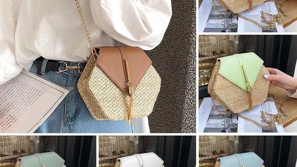 Hexagonal Rattan Shoulder Bags