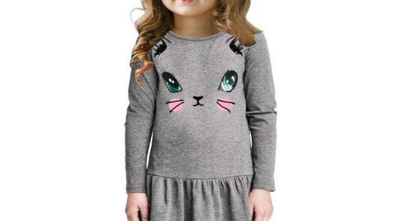 Cat Print Kids Dress
