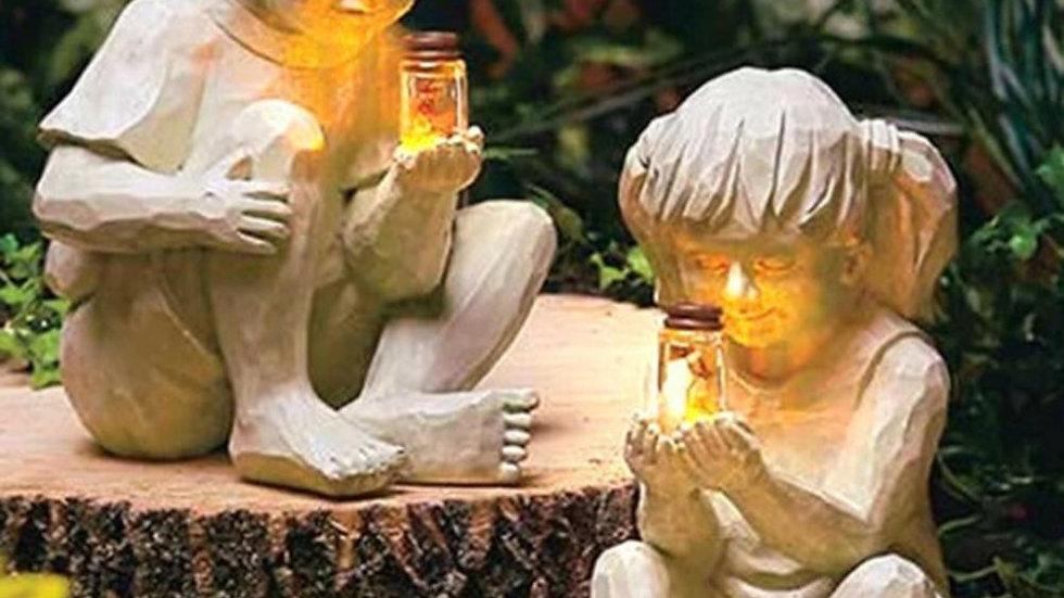 Children with Fireflies Garden Ornament