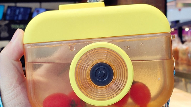 Camera Water Bottles with Straws