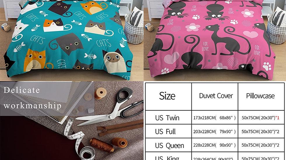 Cartoon Cat Bedding Set