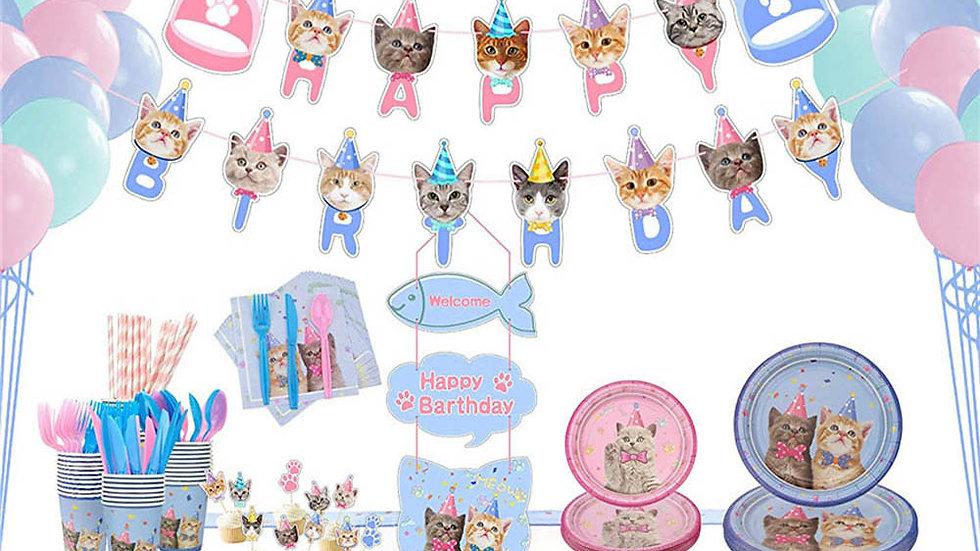 113PCS Cat Party Supplies