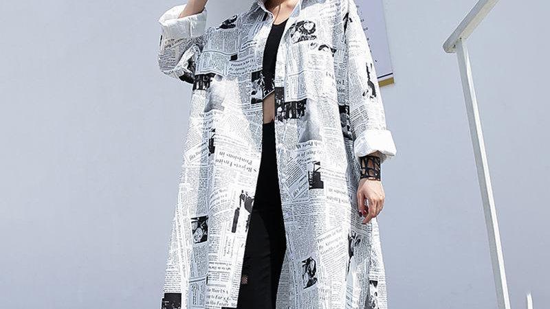 Stylish Newspaper Print Shirt Dress