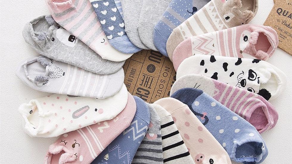 5 Pairs Cute Animal Cotton Socks
