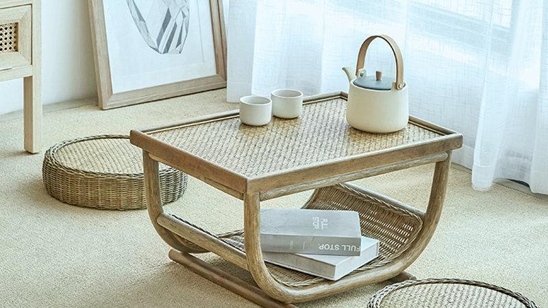 Handmade Rattan Coffee Table Set