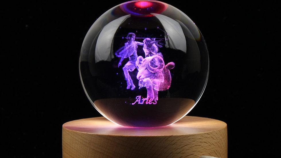 3D Zodiac Transparent Crystal Ball