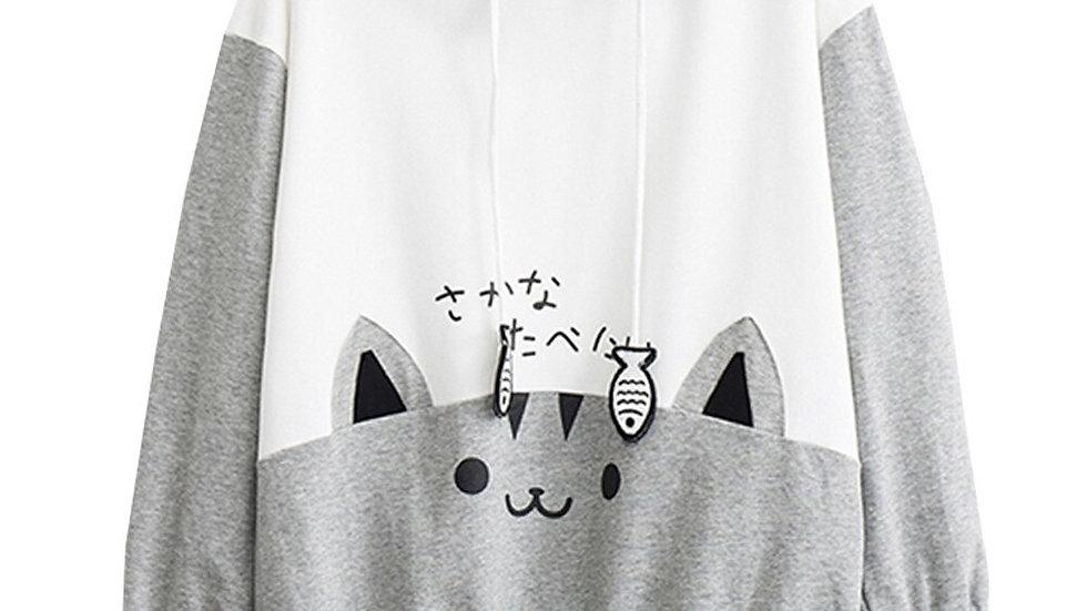 Oversized Kitten Print Sweatshirt