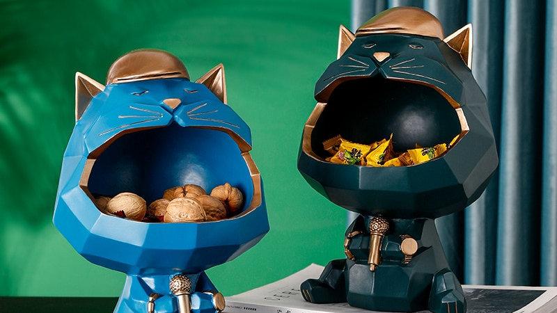 Big Mouth Cat Storage Resin Sculpture