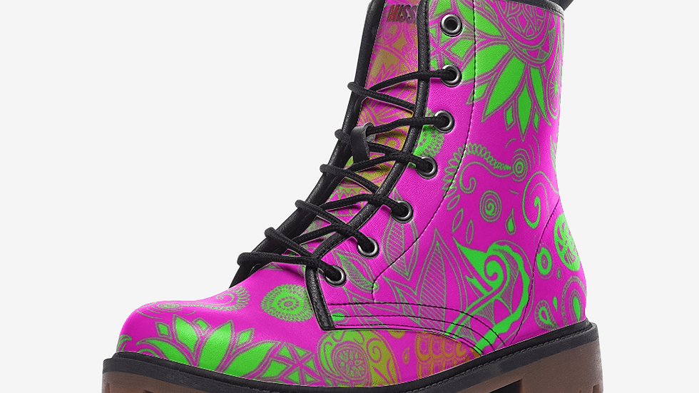 Neon Henna Leather Combat Boots