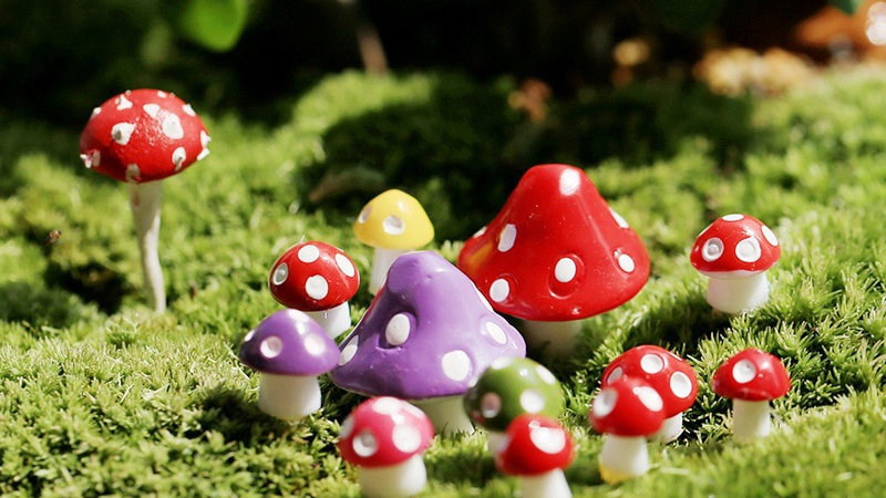 10PCS Resin Mini Mushroom Decorations