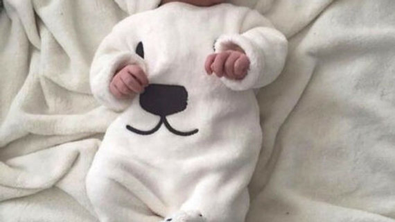 Fleecy Polar Bear Baby Outfit