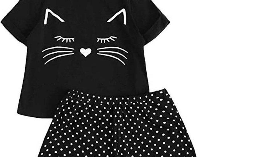 Women's Cute Kitty Pyjama Sets