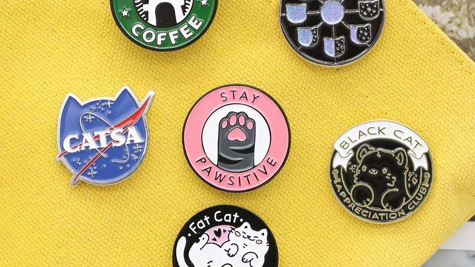 Cat Themed Pin Badges