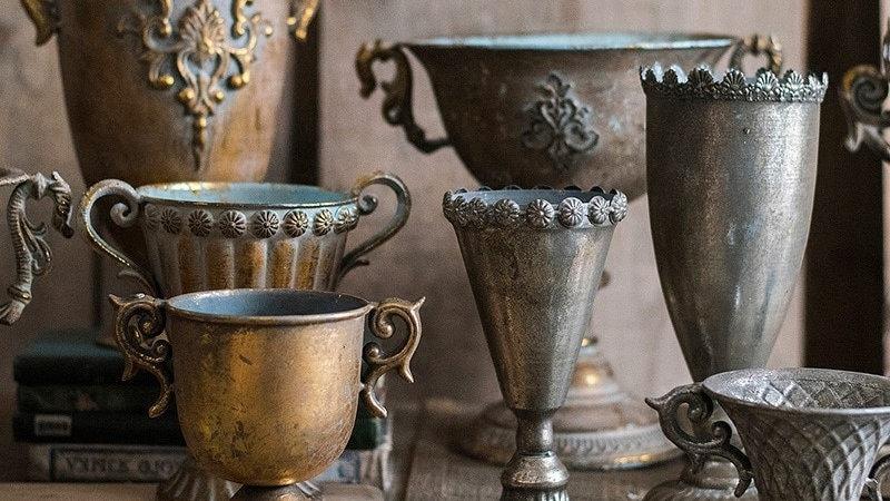 Vintage Wrought Iron Vases