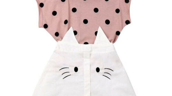Girls Cotton Cat Print Top and Skirt