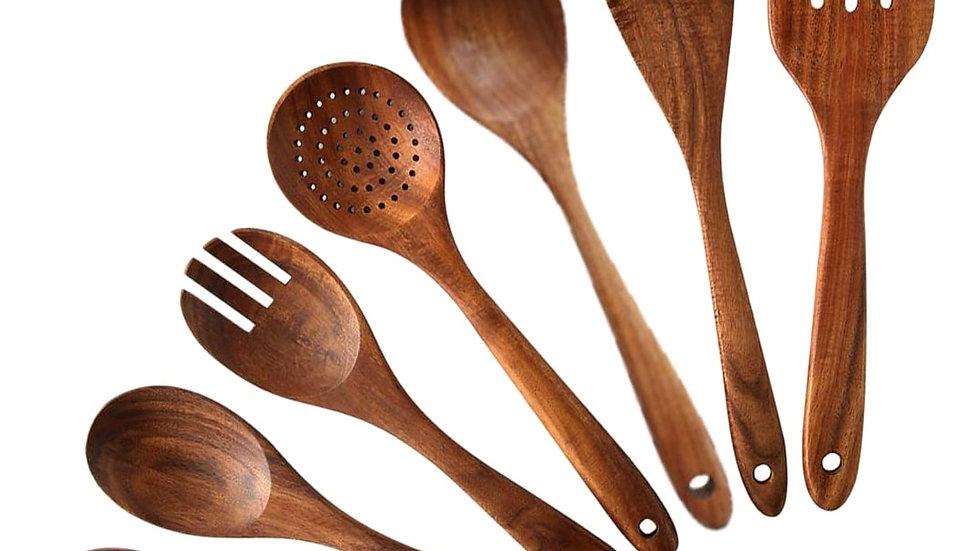 7 PCS Teak Wood Cooking Utensils