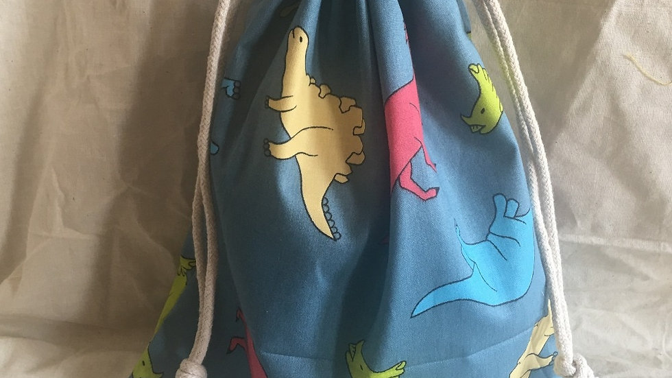 Cotton Drawstring Eco Organized Pouch Party Gift Bag Print Color Dinosaur YL311a