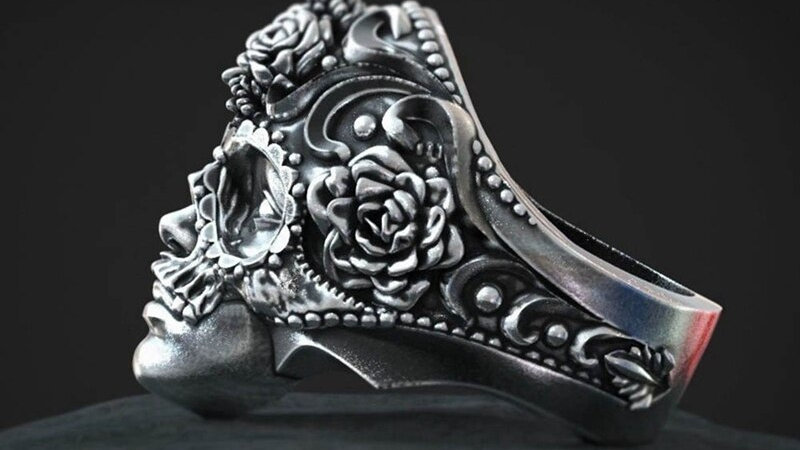 Unique Vintage Silver Color  Stainless Steel Skull Ring