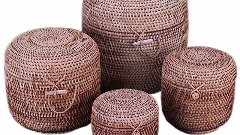 Hand-Woven Rattan Containers