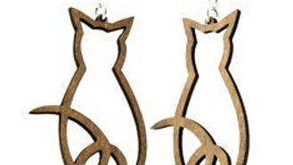 Cat Outline Earrings # 1134