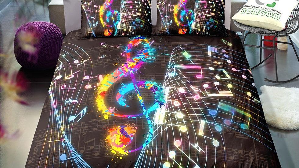 Black Music Print Bed Set