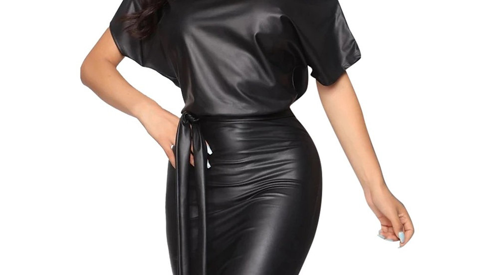 Ladies Batwing Leather Dress