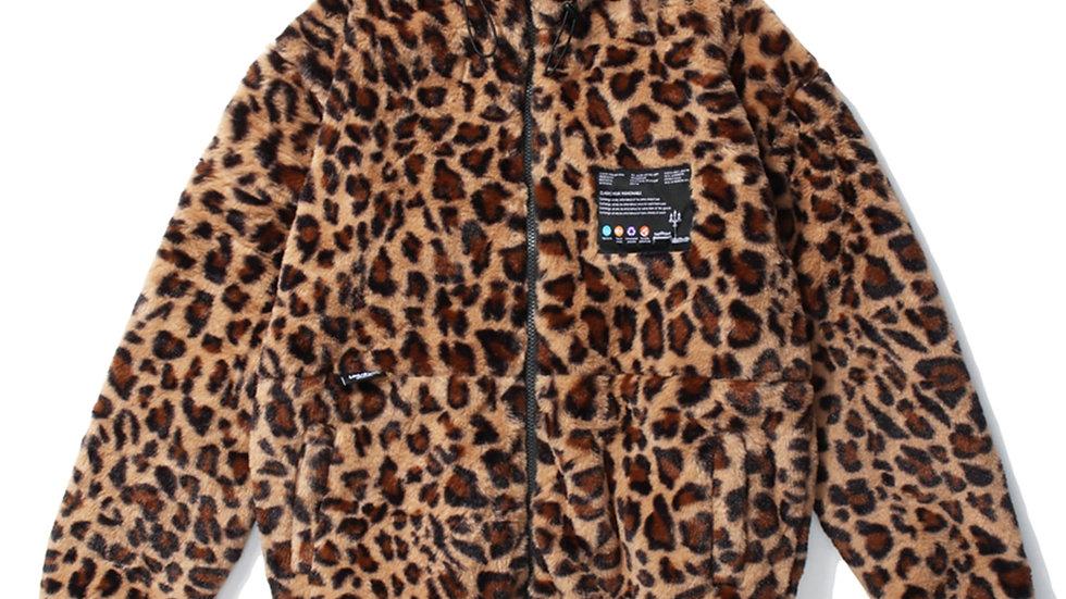 Leopard Print Zip Up Jacket