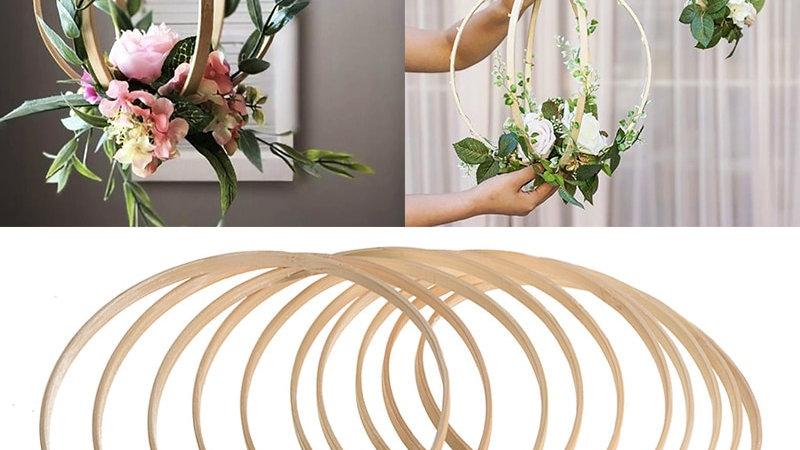 1Pcs 8-40cm DIY Wooden Circle Frame