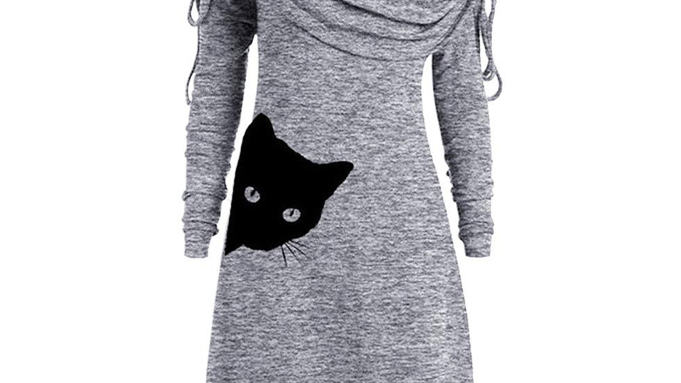 Women's Casual Cat Print Dress