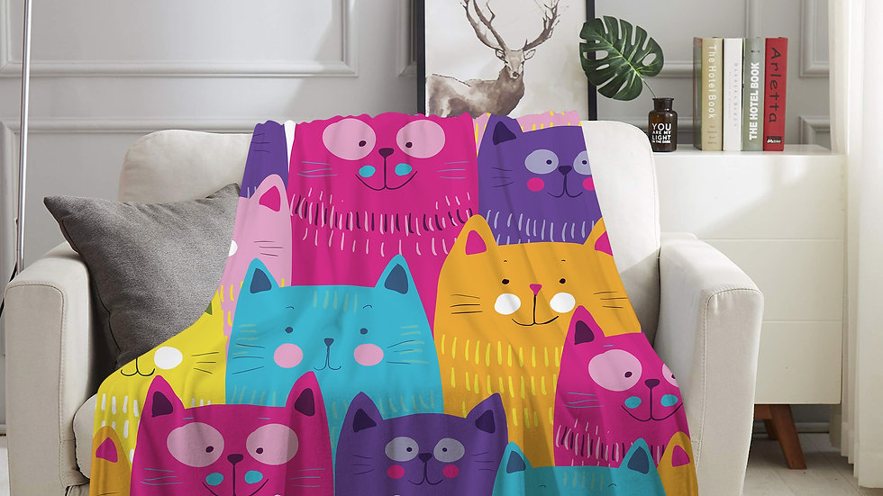 Colourful Cats Flannel Blanket