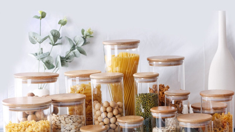 Bamboo and Glass Food Containers