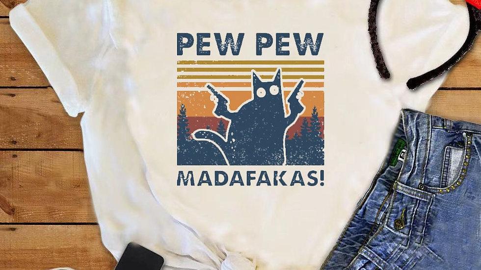 Funny Cat Print Tops