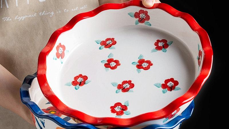 Ceramic Floral Baking Pan