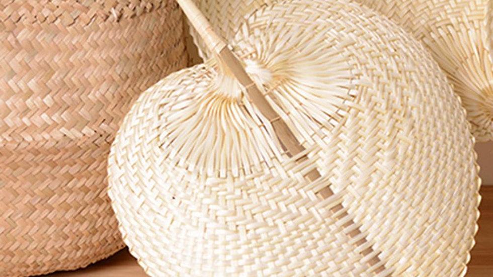 Hand-Woven Straw Fan Palm Leaf