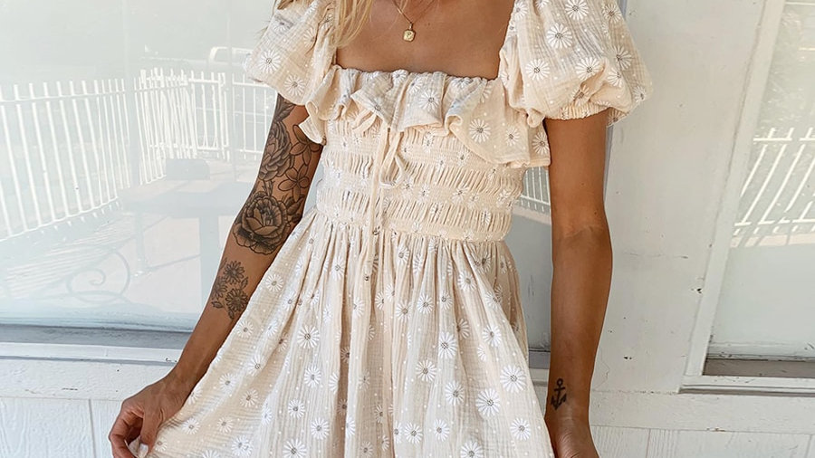Puff Sleeved Floral dress