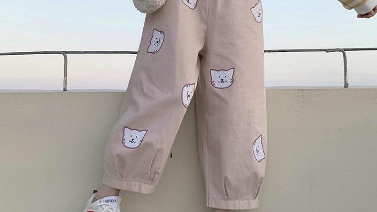 Cute Cat Print Loose Women's Pants