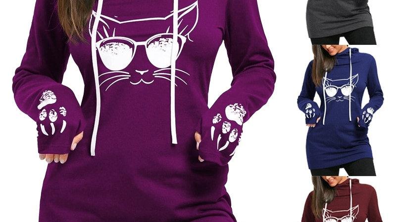 Long Sleeve Mid-Length Cat Dress