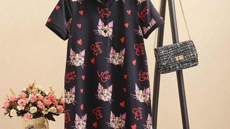 Love Cat Print Party Dress