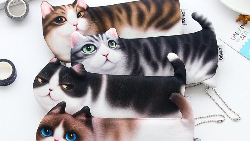 Cartoon Cat Soft Pencil Case