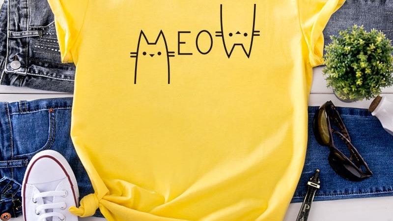 Summer Cat Print Women's T-Shirt