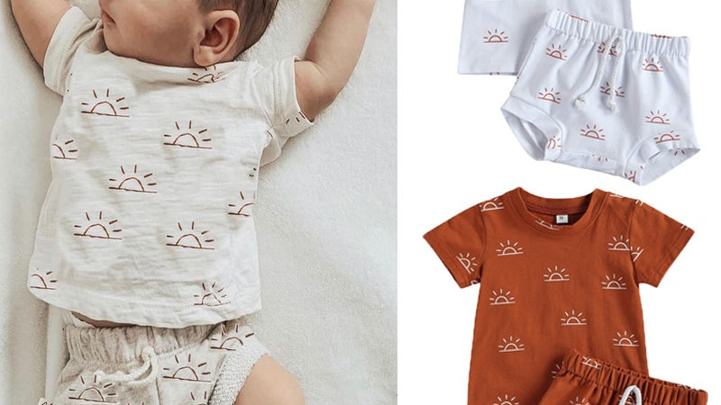 Casual Sun Print Baby Outfit