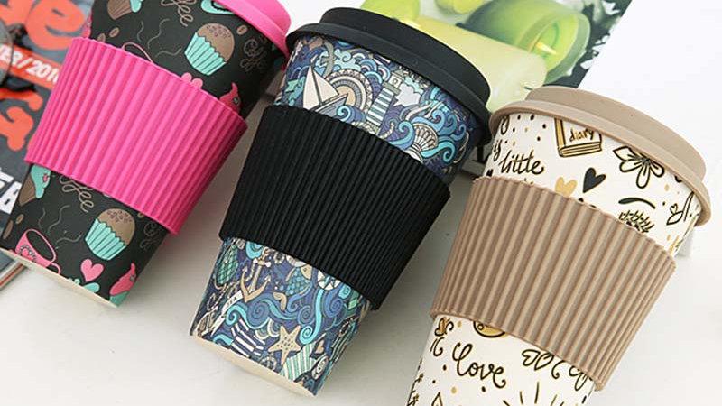 400ml Reusable Bamboo Fibre Travel Mugs