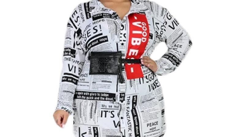 Newspaper Plus Size  Casual Dress