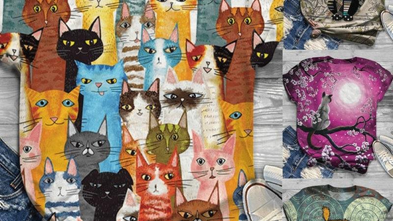 Cute Colourful Kitty T-Shirt