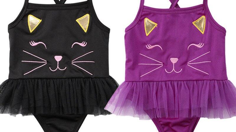 Baby Girl Cartoon Cat Swimsuit