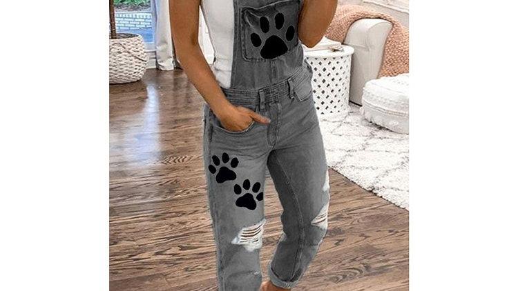 Pawprint Denim Overall Pants